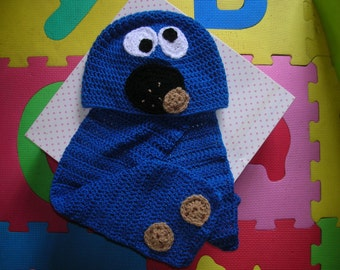 Cap Monster 3/6 years mangiabiscotti with matching scarf tg