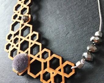 Geometric Necklace, Beehive Jewelry, Hexagon Necklace, Wooden Jewelry, Beaded Necklace, Beehive Hexagon, Gift for her, Handmade Jewelry