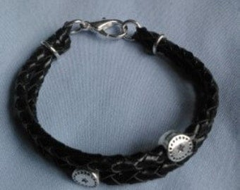 Leather Round Braid Bracelet of 4 Strands