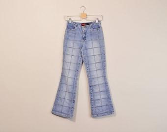 90s Patchwork Jeans, Vintage Y2k Jeans, 90s Low Rise Jeans, Low Rise Flared Jeans, 90s Flared Jeans, 90s Bell Bottoms, Womens Size 2 / 3