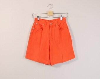 Orange Denim Shorts, 90s Mom Shorts, 90s Denim Shorts, Vintage 90s Jean Shorts, High Waist Shorts, Womens Long Denim Shorts - Size 4 / 6