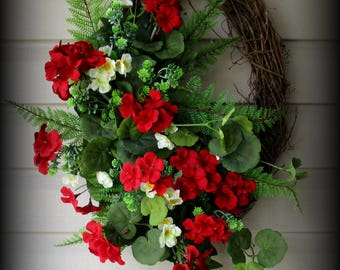 Oval Greenery Wreath with Red Geraniums - Mixed Florals-  26""
