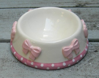 Precious Pink, Whimsical, Pink Bow Ceramic Bowl, Dog Bowl, Cat Bowl, Pet Bowl, Pet Feeder, Posh Pet Bowl, Custom Ceramic Bowl,