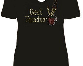 Best Teacher Rhinestone Ladies T Shirt                                                      sv AVW3