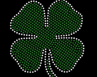 Irish 4 leaf Clover Rhinestone Iron on Transfer           1897