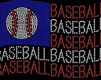 Baseball Flag Rhinestone Iron on Transfer                                  071513
