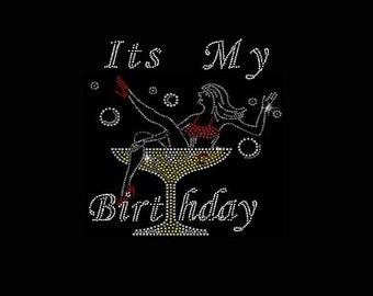 Rhinestone It's My Birthday Lightweight Ladies T-Shirt  or DIY Iron On Transfer           AEXW