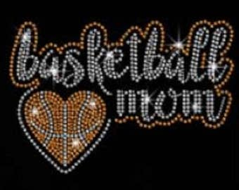 Basketball Mom Rhinestone Iron on T Shirt Design                                   9KYM