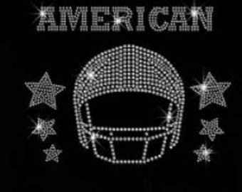 "Rhinestone Football American Lightweight T-Shirt    or  DIY Iron On Transfer   ""you pick the number""                    3SIM"