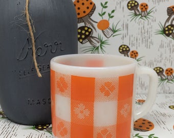 Vintage  FEDERAL ~Orange PLAID w/FLOWER ~ Milk Glass Mug