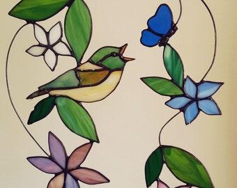 Stained glass birds suncatcher, glass hanger of bird, finch, window hanger, window art with different colors, cute bird hanger for window