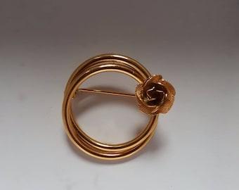 Linked Rings & Rose Brooch