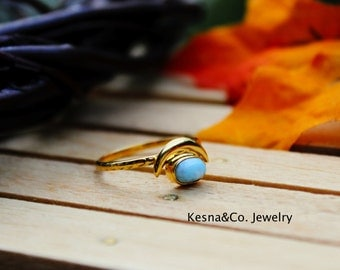 Larimar Ring, Gold Stacker Rings, Knuckle Rings