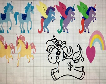 Unicorn Stickers.....colors shown to show colors can be changed/customized to uput liking
