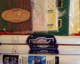 9 Charles Craft Counted Cross Stitch Embroidery Fabric Aida Assorted Lot 14 18 Count White Pink Gingham Black Yellow Printed Christmas