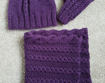 Spring Set of the infinity scarf, hat and hand warmers.made to order