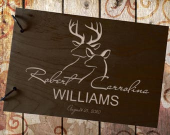 Wedding GuestBook Wood GuestBook Wedding Gift Personalized GuestBook Deer GuestBook Couples GuestBook Tree GuestBook Rustik Guest Book