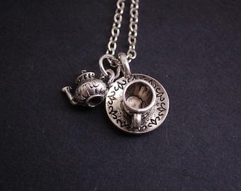 silver tone tea cup tea pot necklace