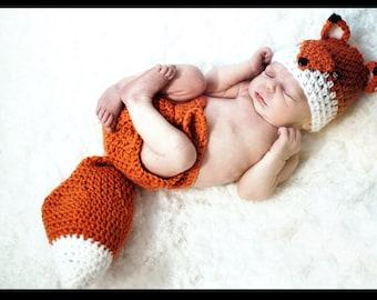 Newborn Fox Set, Crochet Fox Set, Fox Photo Prop Set