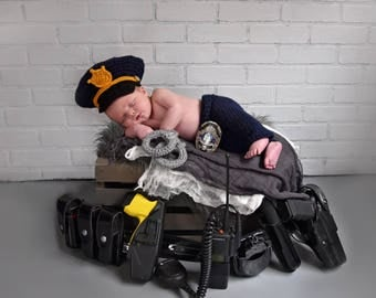 Crochet Police Officer Hat, Newborn Policeman Hat, Pants and Handcuffs Photo Prop