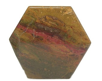 Ocher and Ombre Agate Natural Semiprecious Gemstone Hexagon Handcrafted 2 sided Gem Agate Cabochon