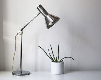 Desk lamp with chrome plating, silver, height adjustable, 1960, 1970, vintage mid century lamp, table lamp, desk lamp