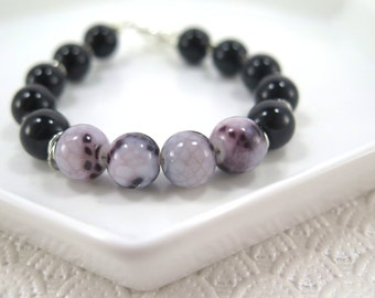 Black and purple beaded bracelet with purple marbled focal beads / black / purple / toggle clasp / gift / lifestyle jewelry