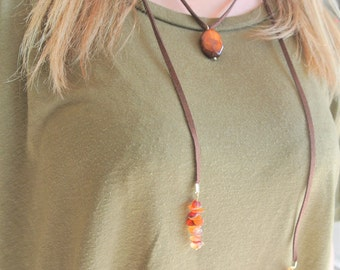 Brown and Rust Choker Wrap Necklace