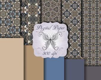 Digital Decorative Paper Blue N Gold