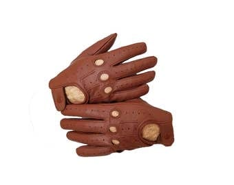 Tan Brown genuine leather Driving gloves