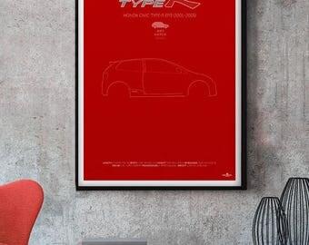 Honda Civic Type-R Poster, Honda Civic Type R Poster, Honda Civic Type-R print, Car poster print, Retro Car print, Honda