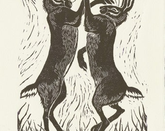 Original hand burnished linocut print of Boxing Hares, original art, limited edition, hand made