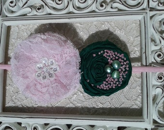 Shabby chic Lace pink headband