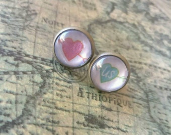 Pink and Green Heart Arrow Cabachon Bronze Stud Earrings