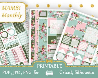 Floral 2018 MONTHLY Happy Planner Stickers kit Printable Stickers Mambi Emerald Blue Pink Large Happy Planner MAMBI Monthly Kit Silhouette