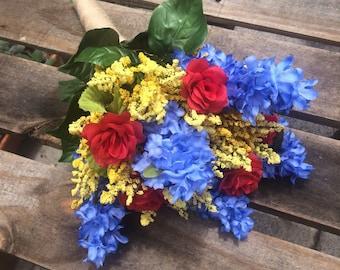 Rose Goldenrod and Delphinium Wedding Bridal Bouquet