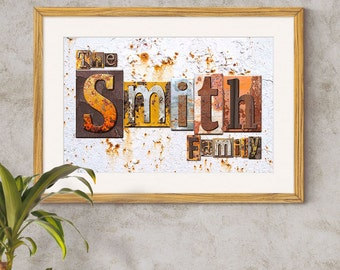 Family Name Art Print - Rusty Metal Letterpress Blocks,Personalised Family Name Print,Surname Art Print,Family Print,Rusty Metal Name