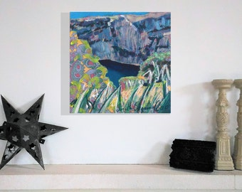 Calanques, Original painting, Provence landscape, acrylic on fabric mounted on wood. Small size, contemporary art.