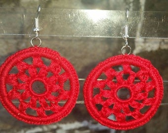 Medium Diana Crochet Earrings- Red. Clip-ons upon request.