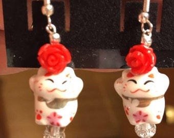 Chinese good luck cat earrings