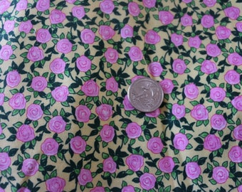 24 Aunt Lindy's paper Doll coordinating fabric Yellow with pink roses