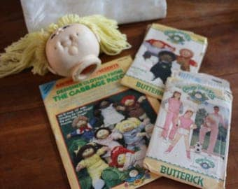 33 Vintage Cabbage Patch Doll Head, Book and two patterns