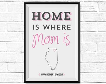 Home is Where Mom Is - Personalized Mother's Day Gift - Canvas or Poster