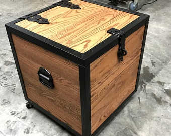 Chest/Oak and Iron Box/storage/box/end table/wooden chest/iron/rustic/industrial