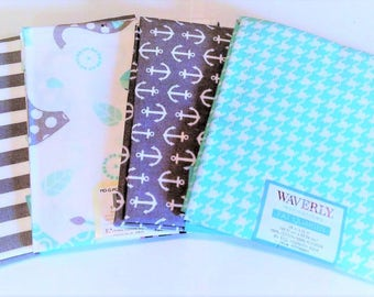 Fabric Bundle, Quilting Bundle, Fat Quarters, Elephant/Anchors/Houndstooth Check, CraftSupplies, Diy/Sewing Fabric, 4Pc Turquoise/Grey/White