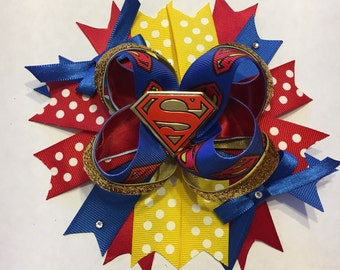 Super Man stacked hair bow