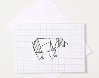 Greeting Card - Origami Animal / Bear