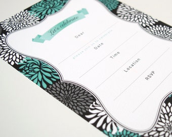 Invitations Blank - Chrysanthemum / Mint