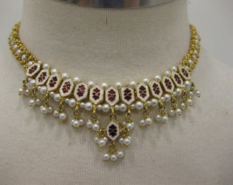 Beautiful Meenakari-Style Choker Necklace with Reversible Enamel Beads, Faux Pearls, and Rhinestones