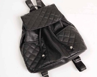 Vintage 90s Black Faux Leather Quilted Rucksack Backpack Bag